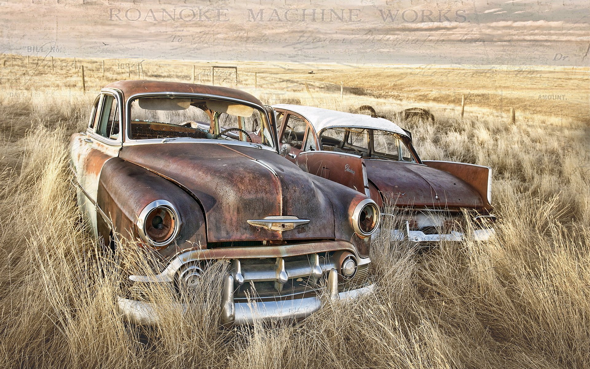 Старый автомобиль в поле  № 2341278  скачать