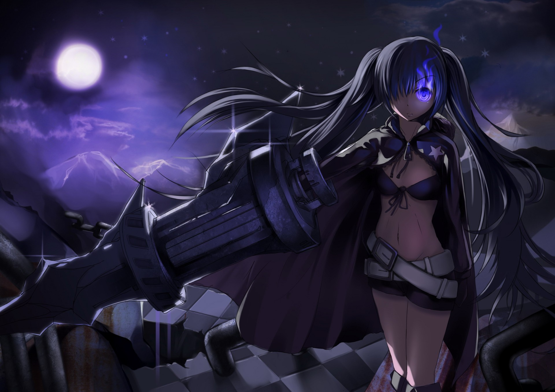 black rock shooter dark gun moon sky