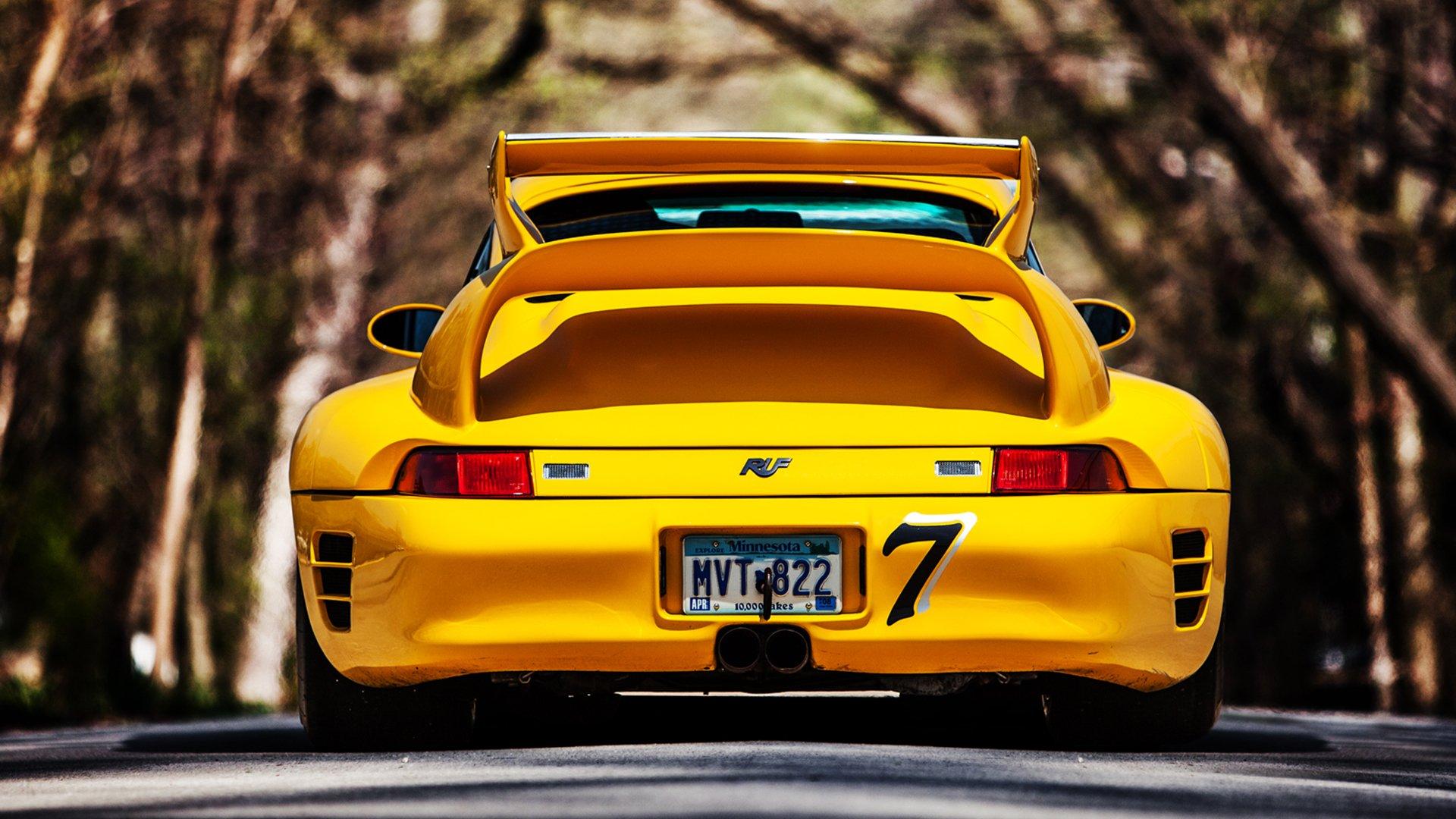 porsche 911 жёлтый обои hd