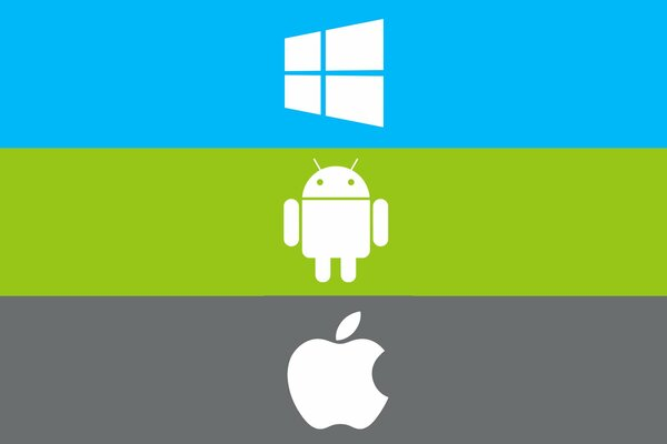windows apple android компьютер операционная система логотип эмблема гаджет телефон планшет полоса