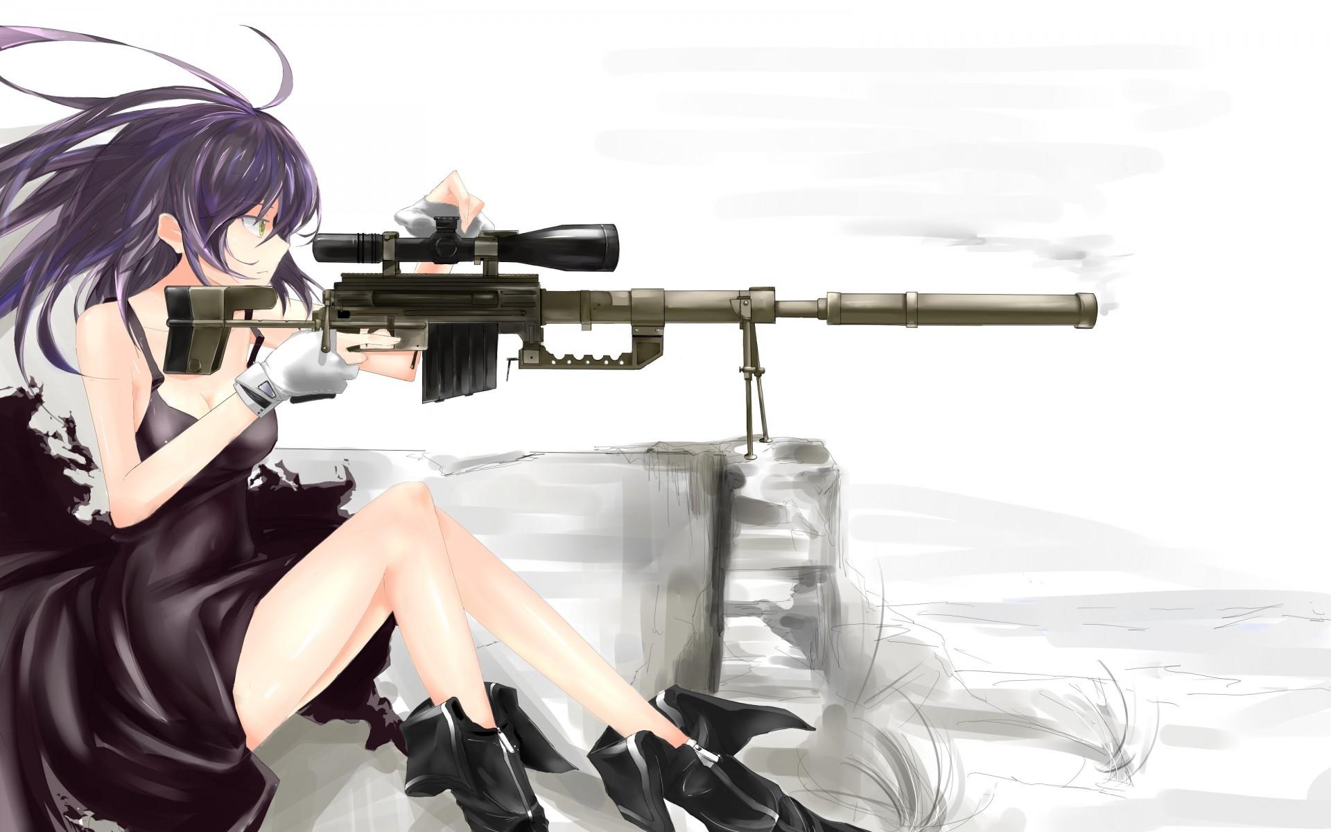 Картинки девушек с оружием из аниме, картинки