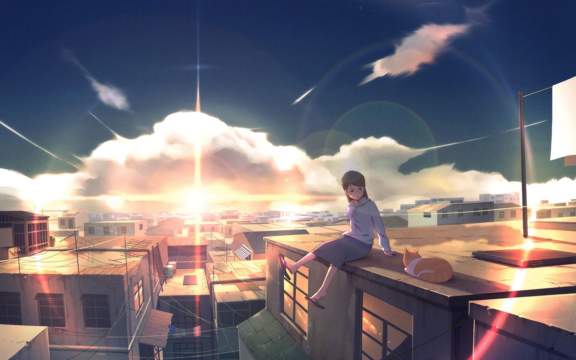 девушка крыша закат без смс