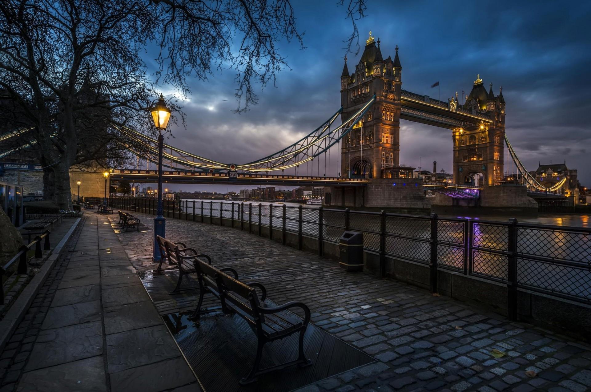 мост город вечер фонари загрузить