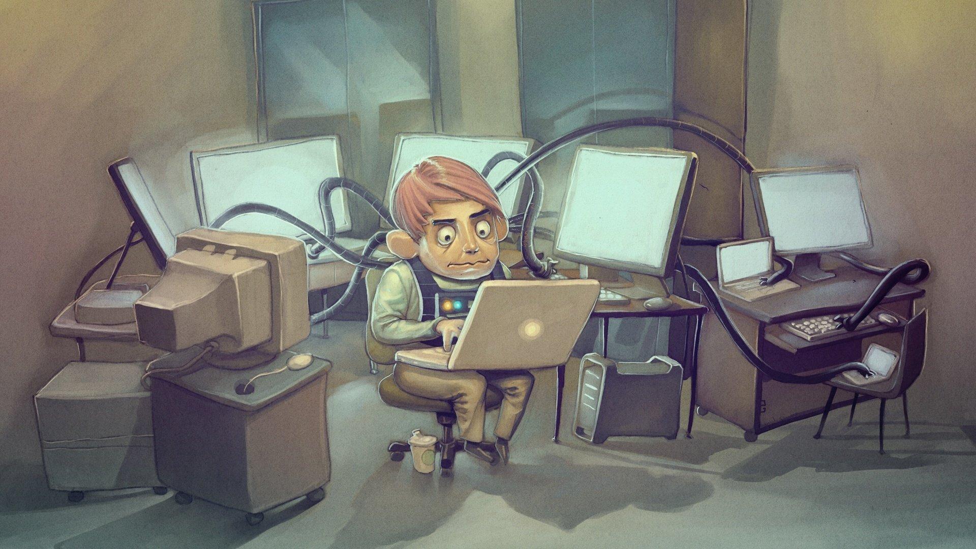 Надписью, прикольные картинки компьютер и человека