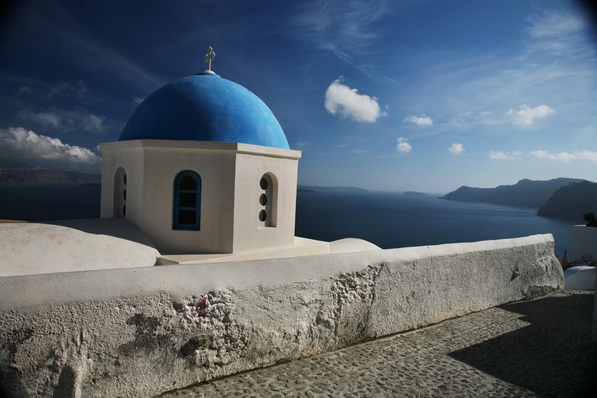 Обои греция, церковь, Облака, Облака, купол. Города foto 6