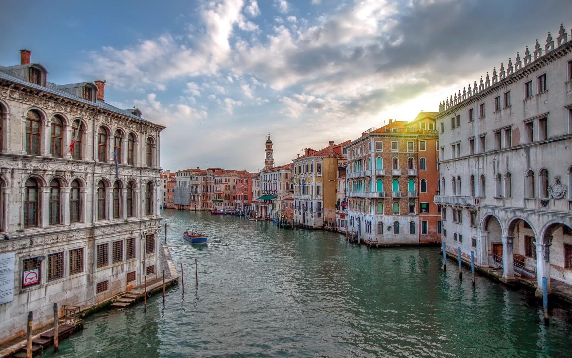 Обои дома, grand canal, водный канал, катера, венеция. Города foto 17