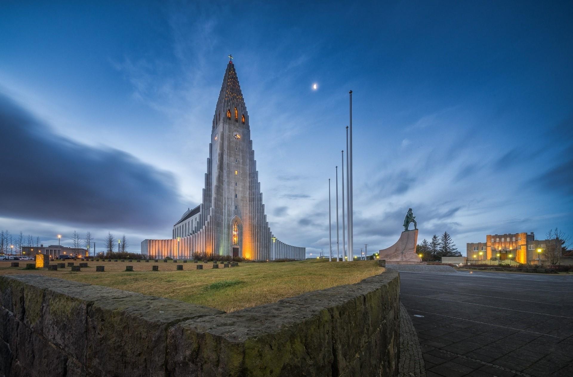 Обои рейкьявик, Исландия, ночь, свет. Города foto 15