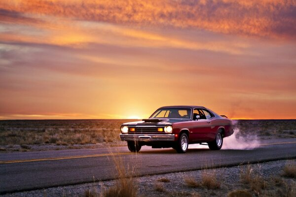 plymouth duster muscle car дорога закат