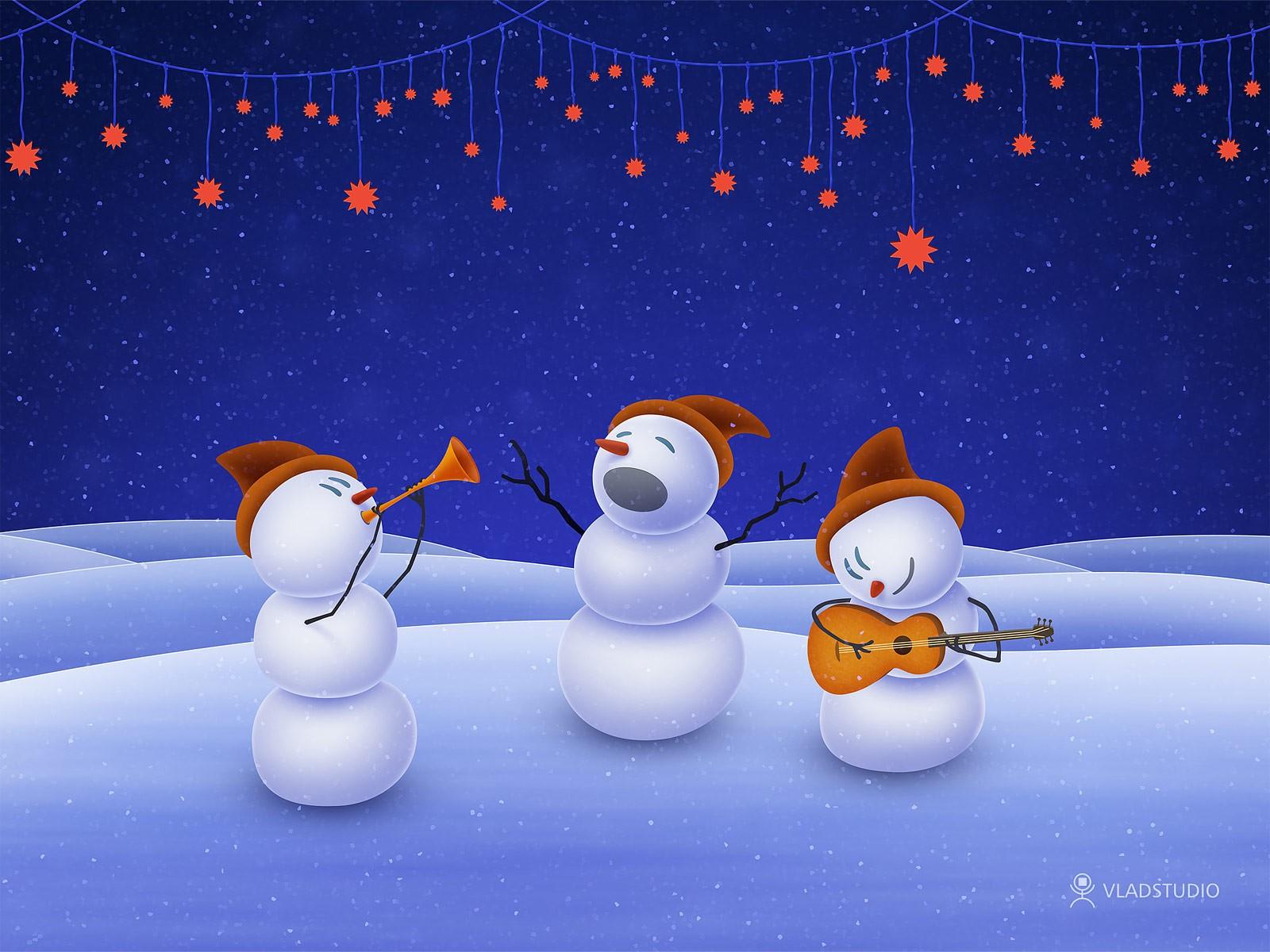 Картинки на новый год с снеговиком, днем