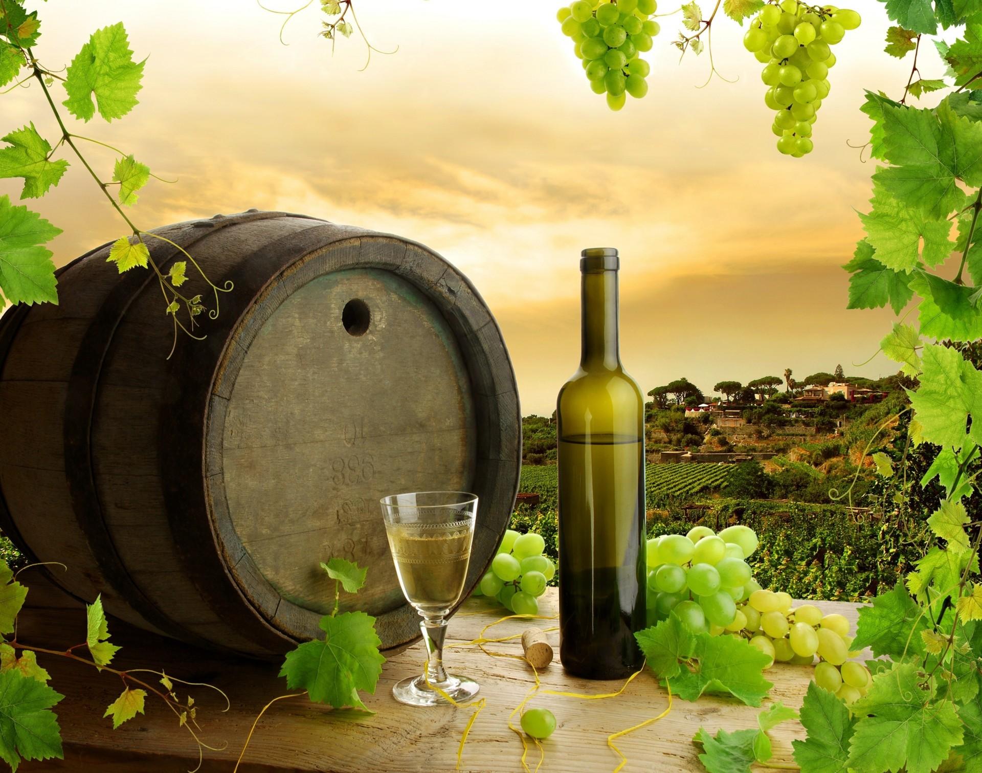 Обои Бутылки, бочки, виноградники, виноград, вино. Разное foto 10