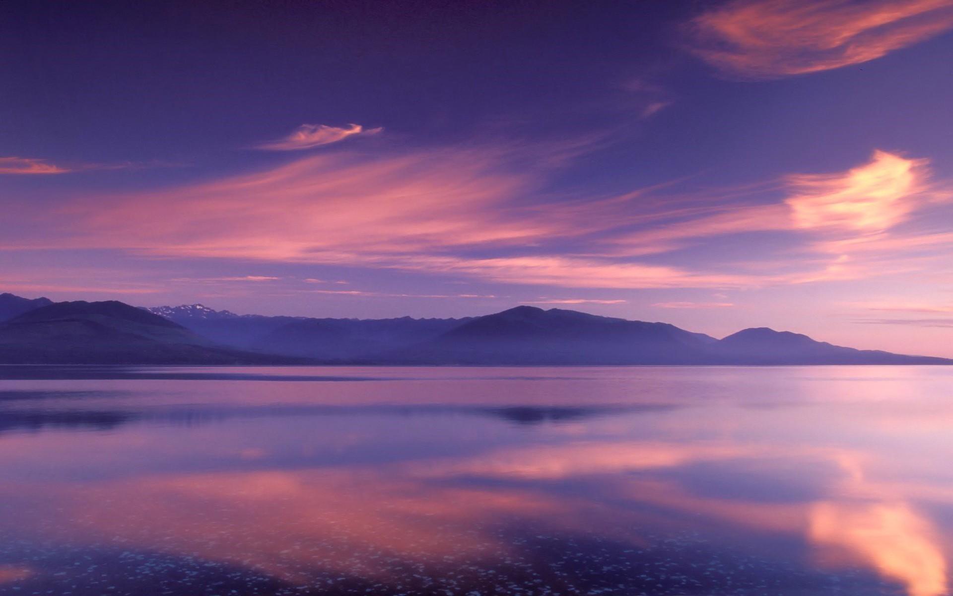 розовый закат, море, горы  № 3110129 бесплатно