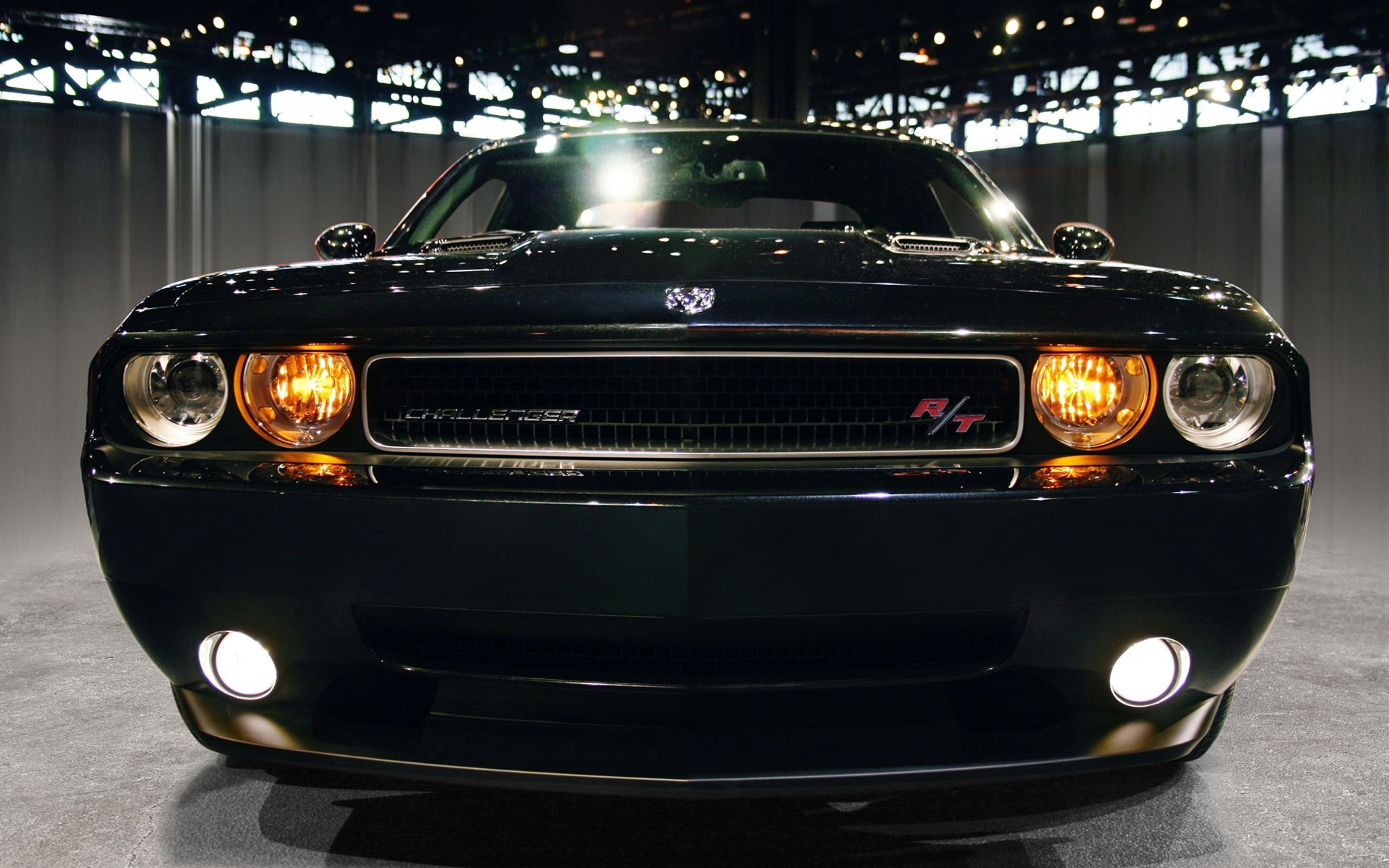 Обои Dodge challenger, передок, чёрный, матовый, car. Автомобили foto 10