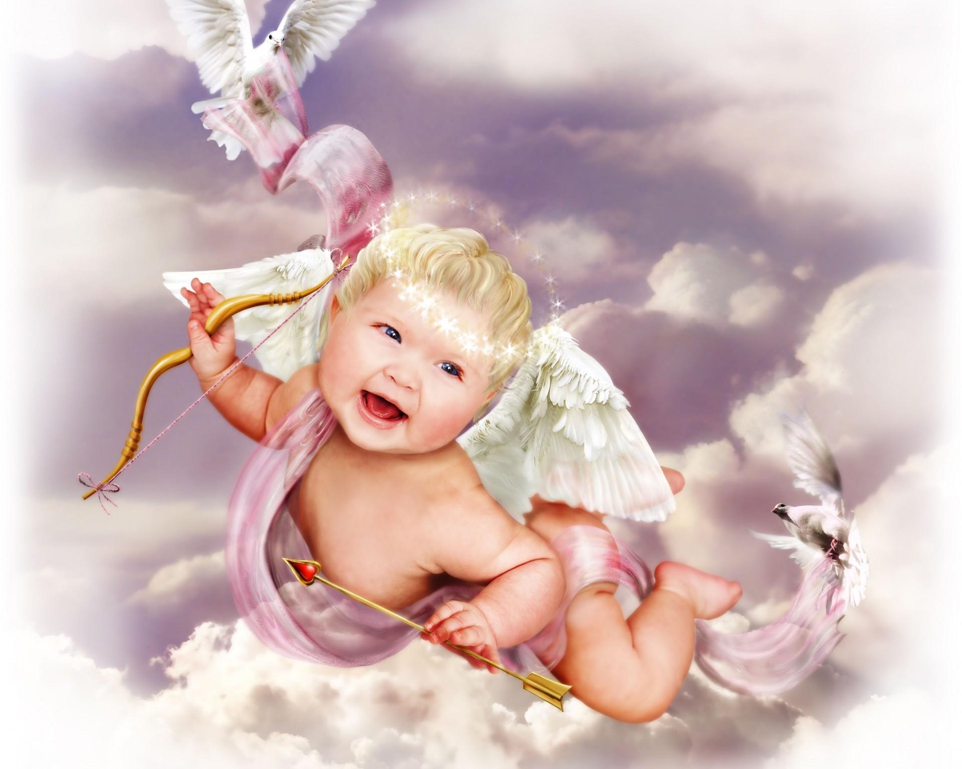 Открытка с ангелом в день рождения