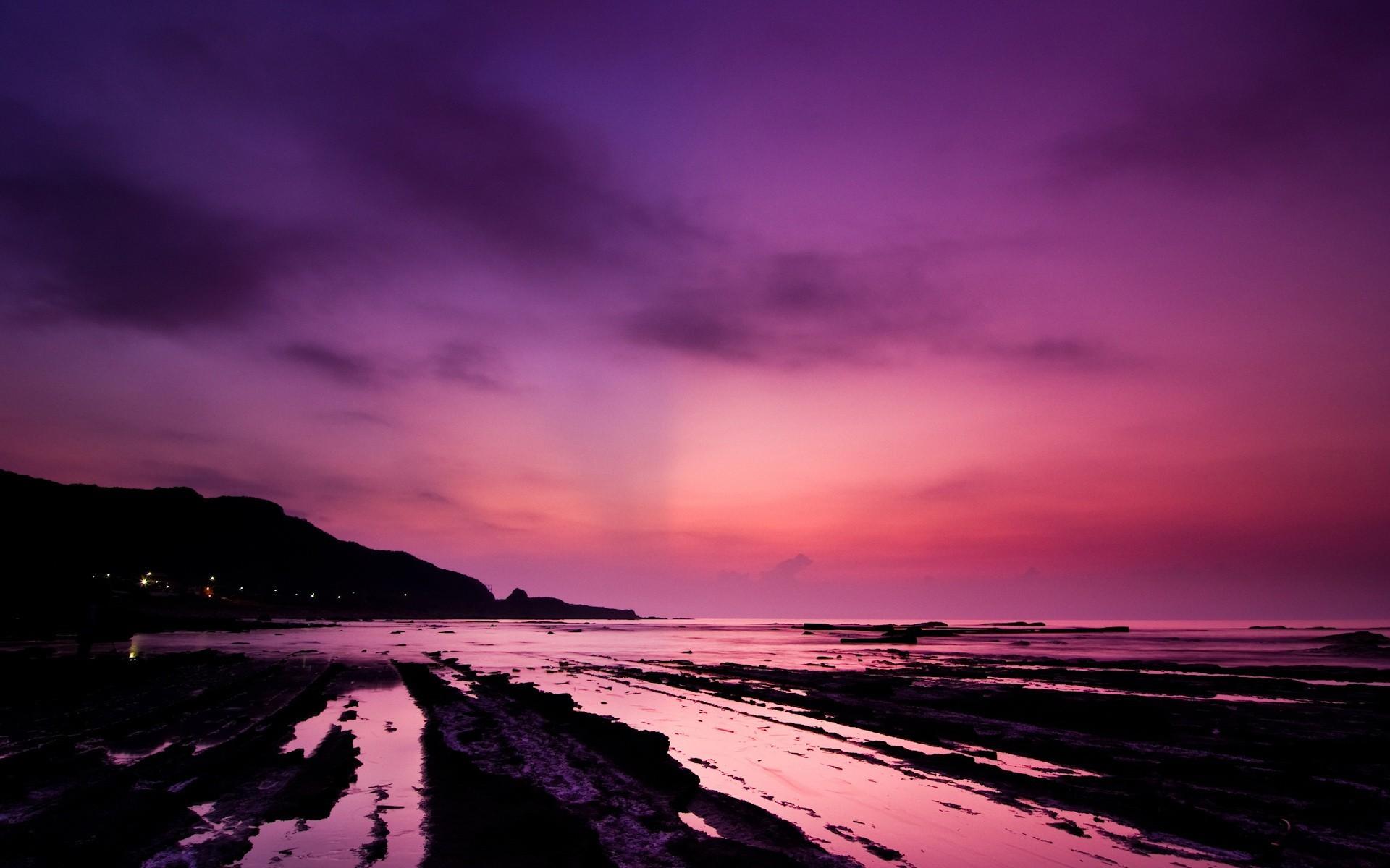 розовый закат, море, горы  № 3110109 загрузить