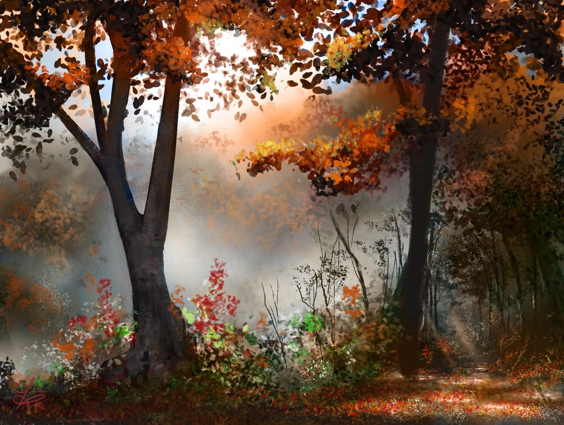 Картинки рисунки осенний лес