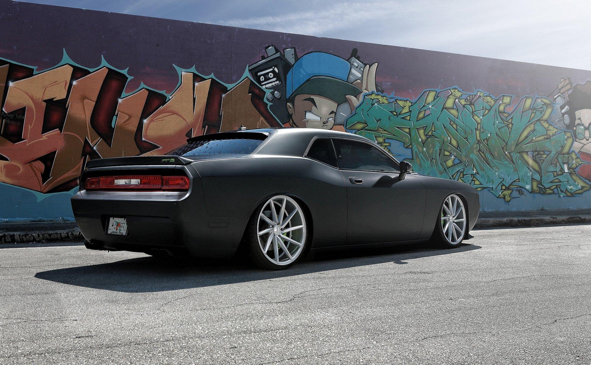 Обои Dodge challenger, передок, чёрный, матовый, car. Автомобили foto 8