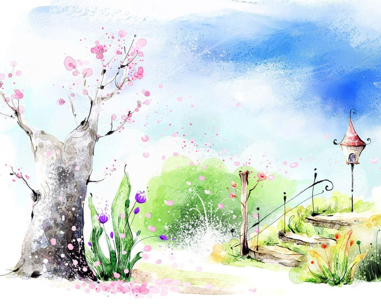 How to draw a scenery of spring season step by step easy drawing Spring season drawing pictures