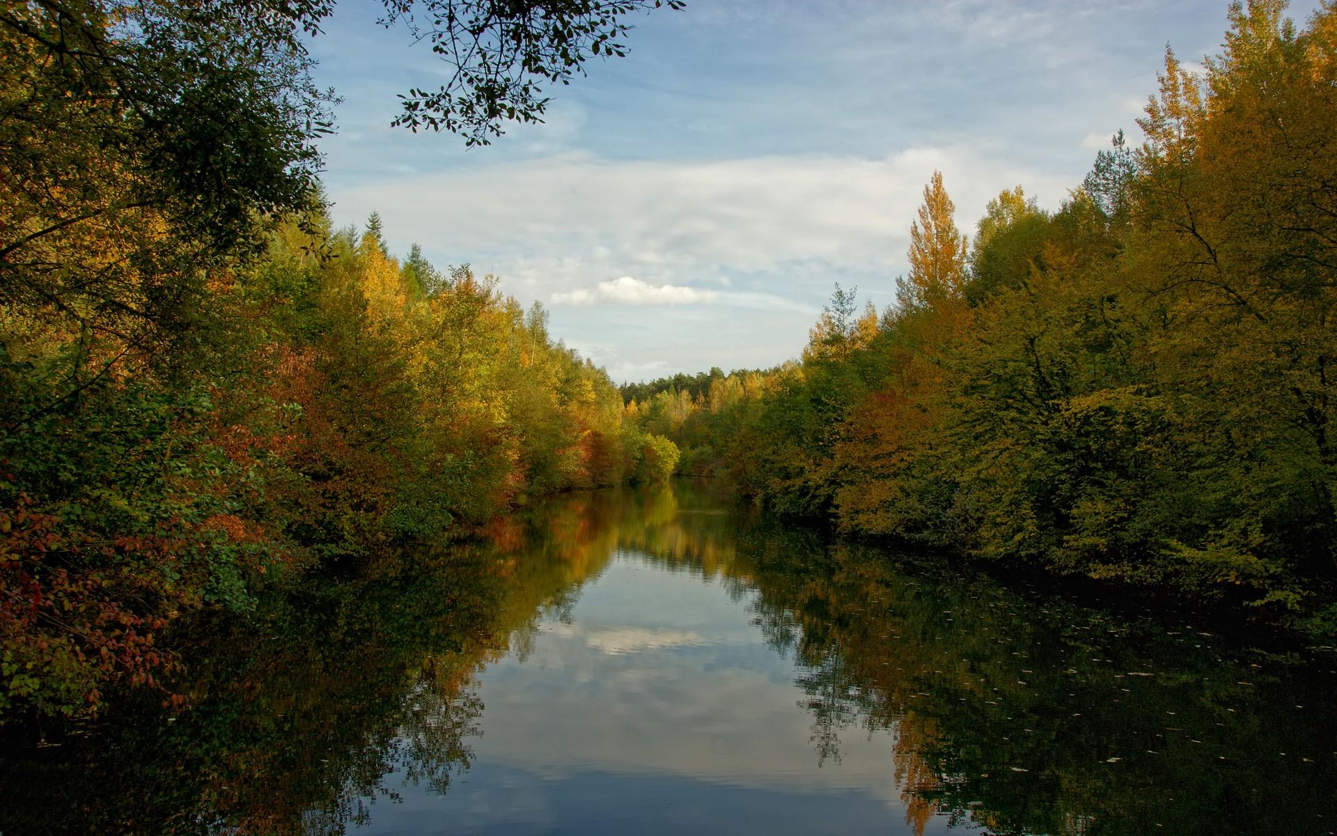 природа деревья река осень без смс