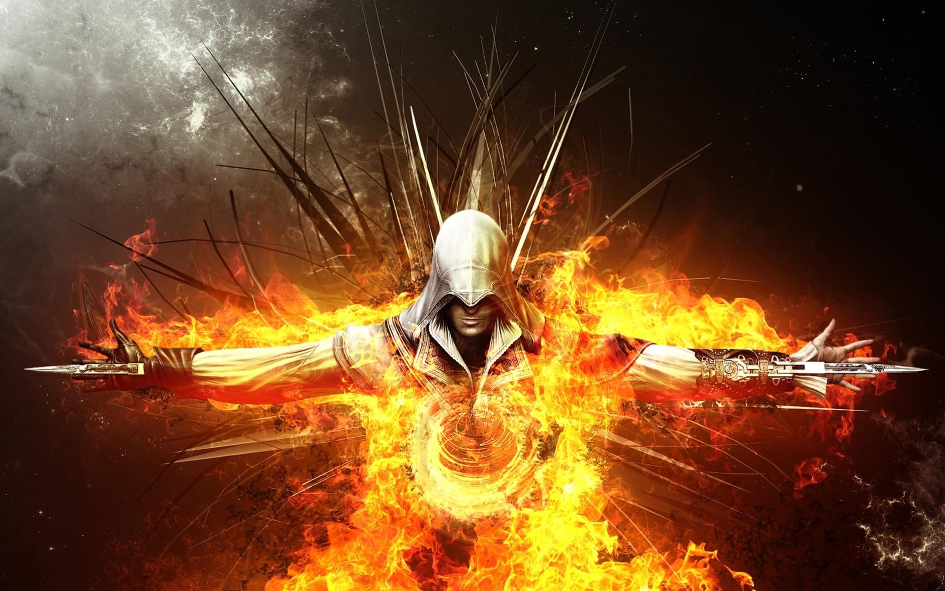 Мжчина с окровавленным мечем в огне  № 1840921 без смс