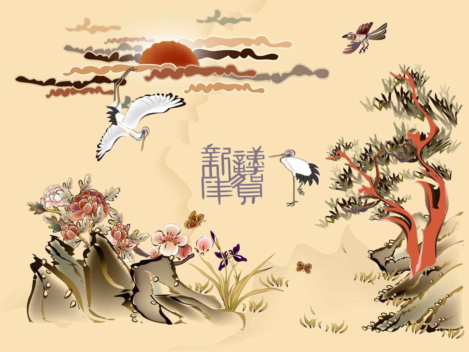 Китайские открытки с цветами