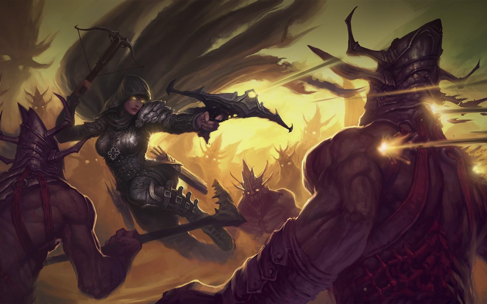 Обои арбалеты, demon hunter, простой фон, доспехи. Игры foto 8