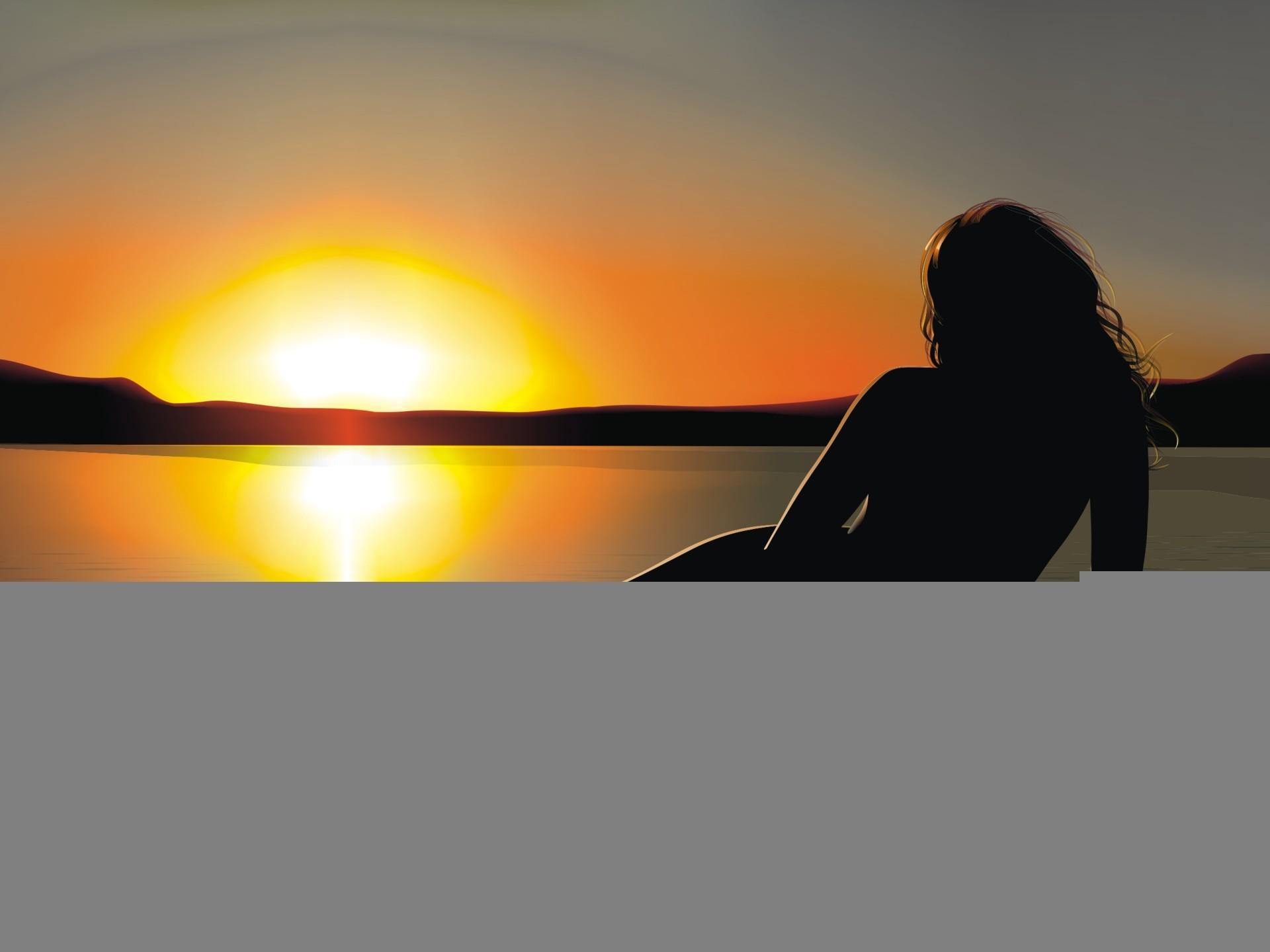 Красивые снимки голой девушки на закате солнца у реки  72630