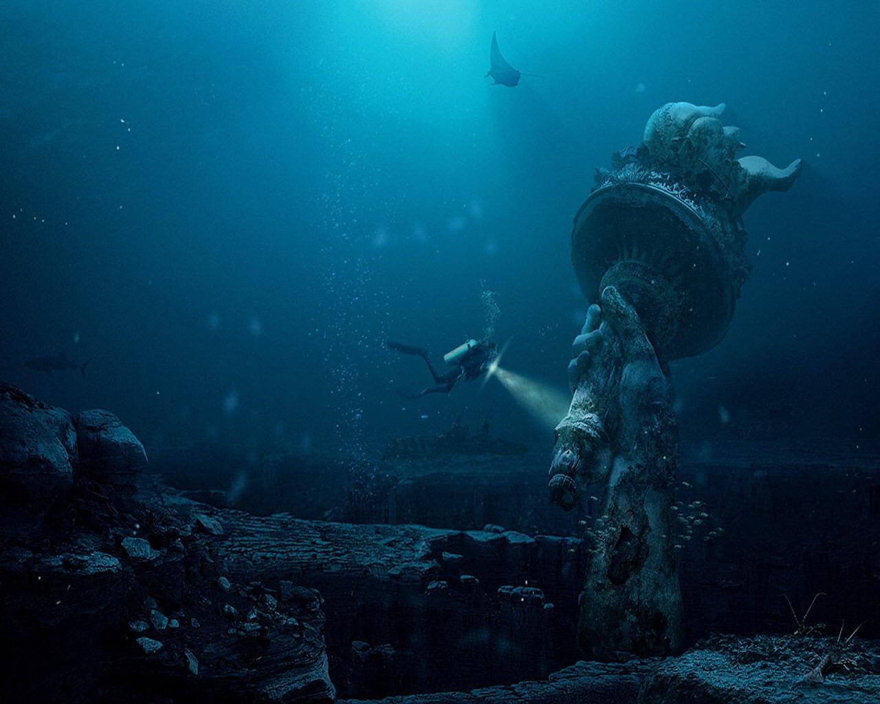 Обои статуя, разрушения, апокалипсис. Фантастика foto 9