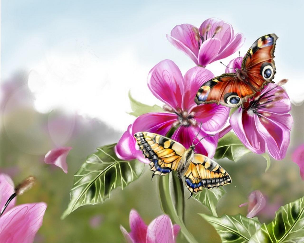 Открытка папе, цветы и бабочки открытки