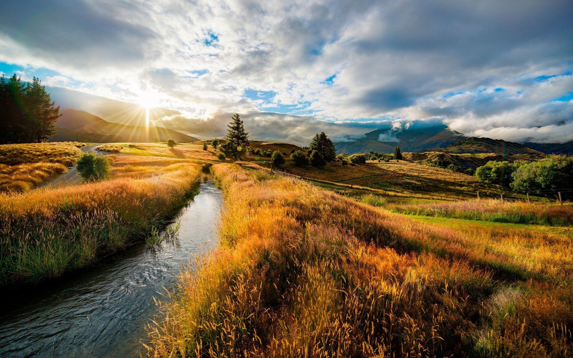 горы деревья солнце отражение русло скачать