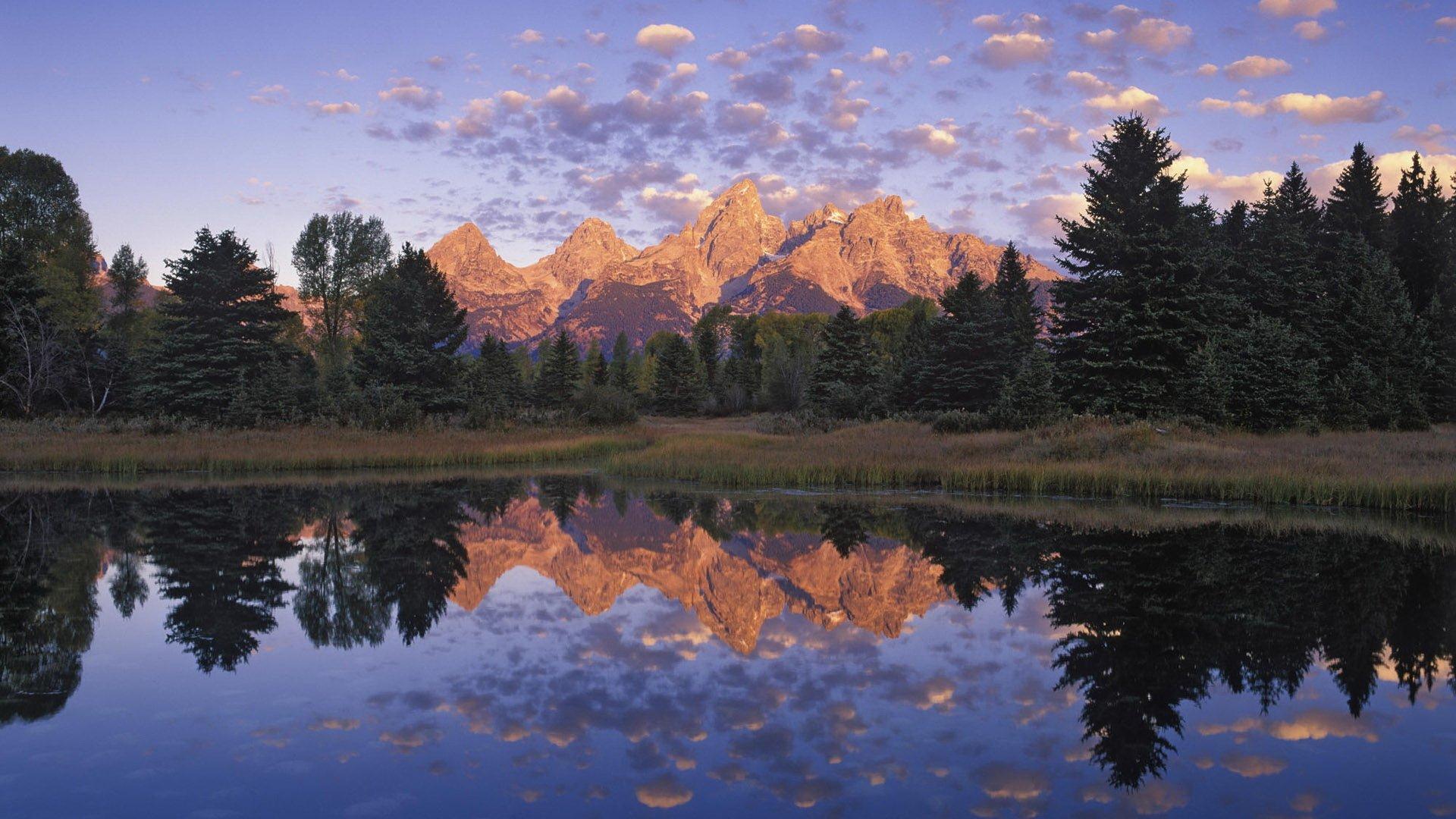горы озеро деревья закат скачать