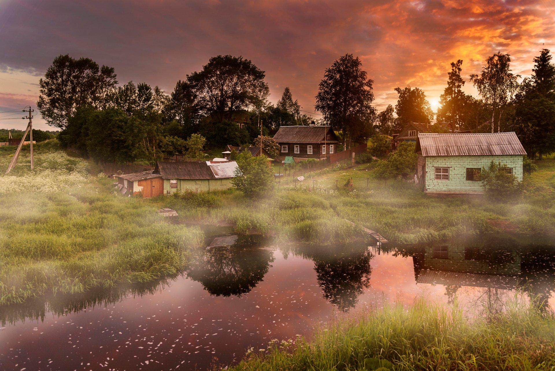 Красивые картинки и гифки с добрым утром с деревней