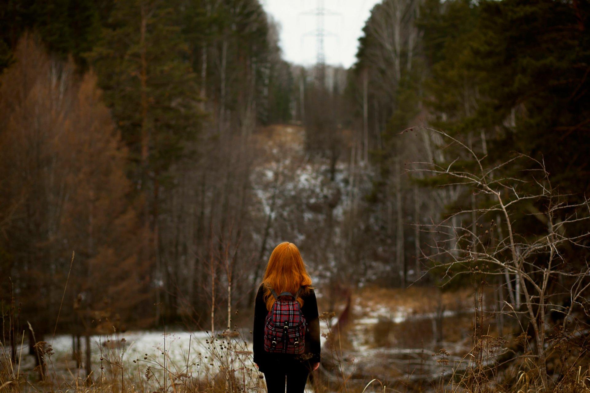 Фото рыжих девушек сзади зимой