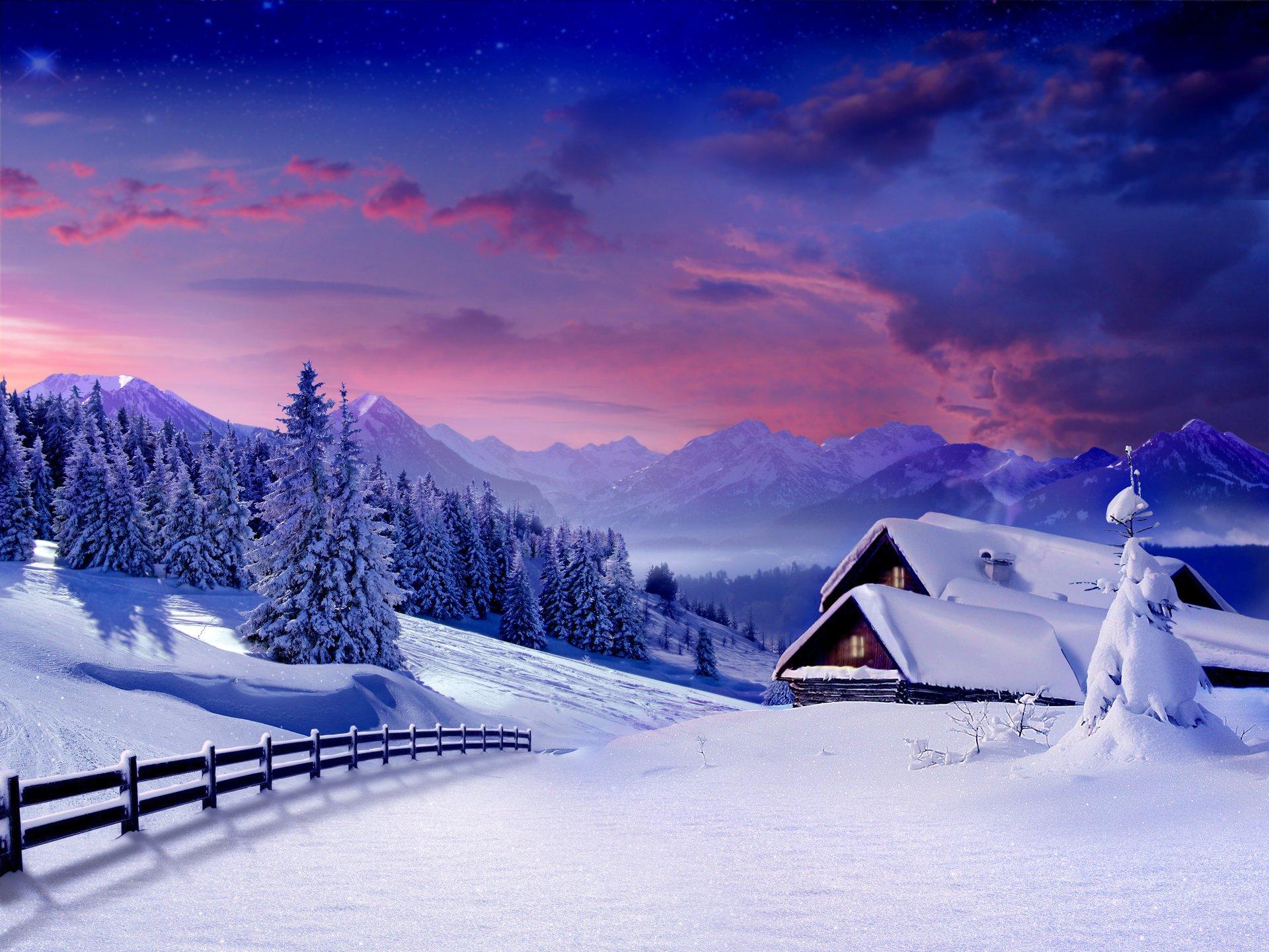 обои зима на рабочий стол пейзаж № 640720 загрузить