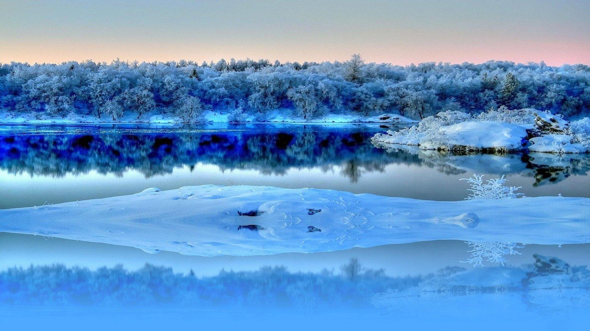 Речка зима иней смотреть