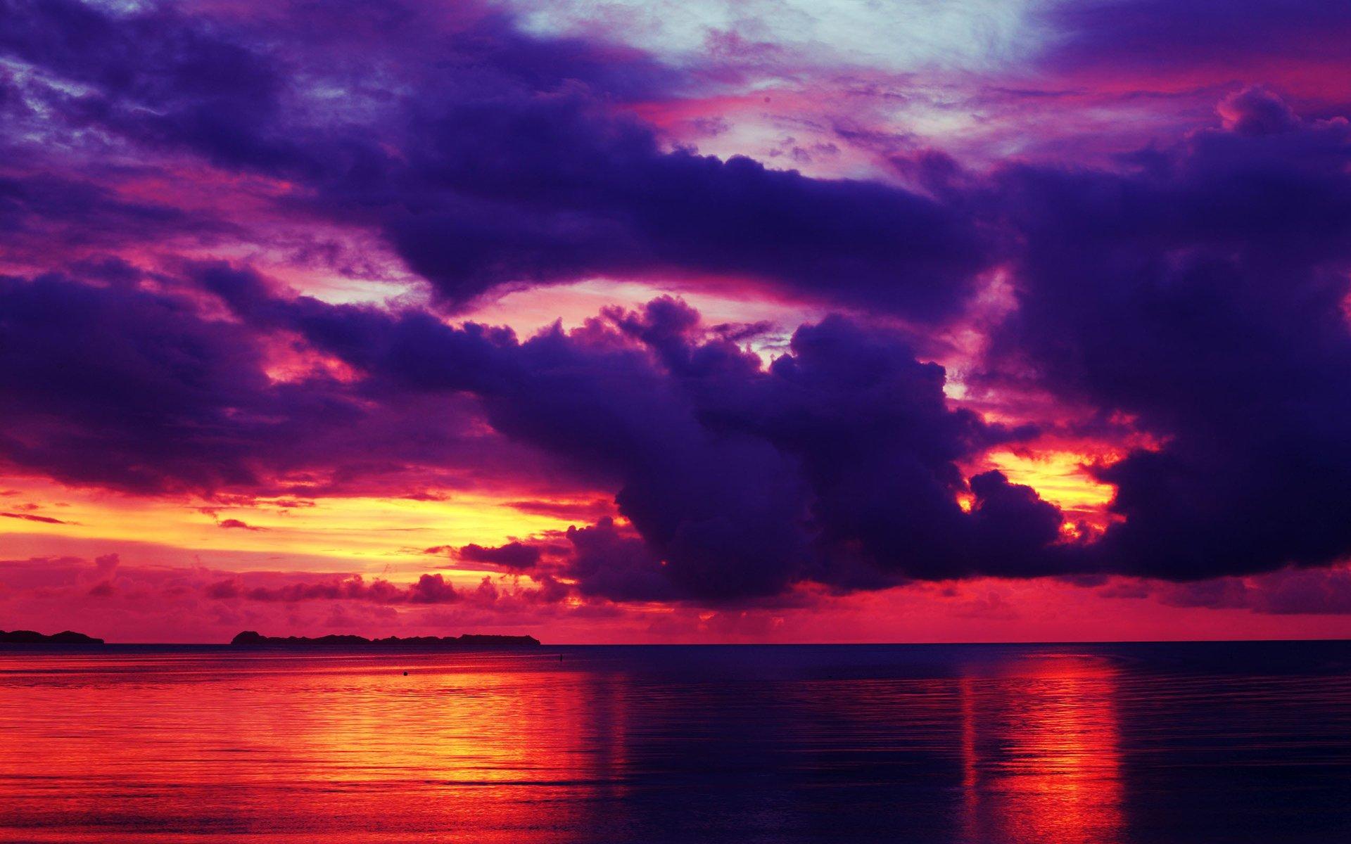 картинки фиолетовый закат над морем улыбка это