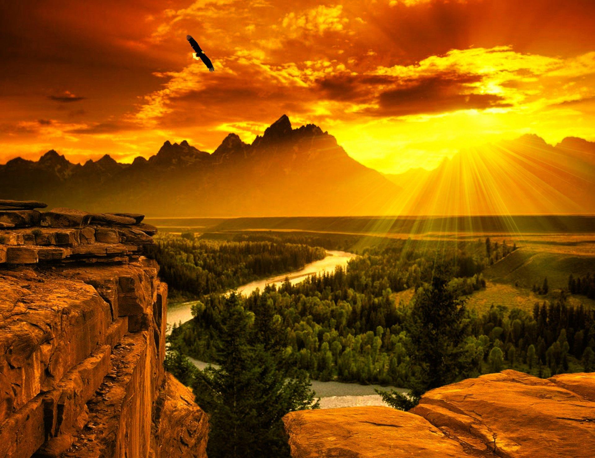 природа облака солнце река  № 2602894 загрузить