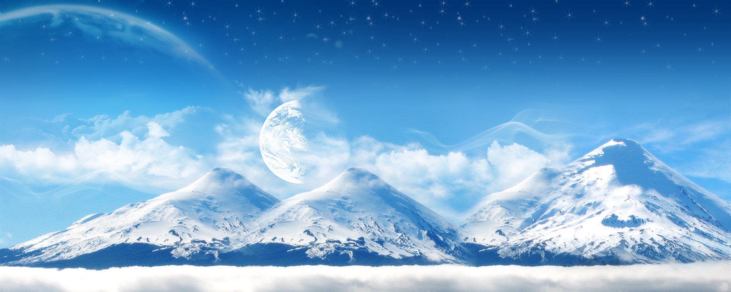 снежные горы небо солнце скачать