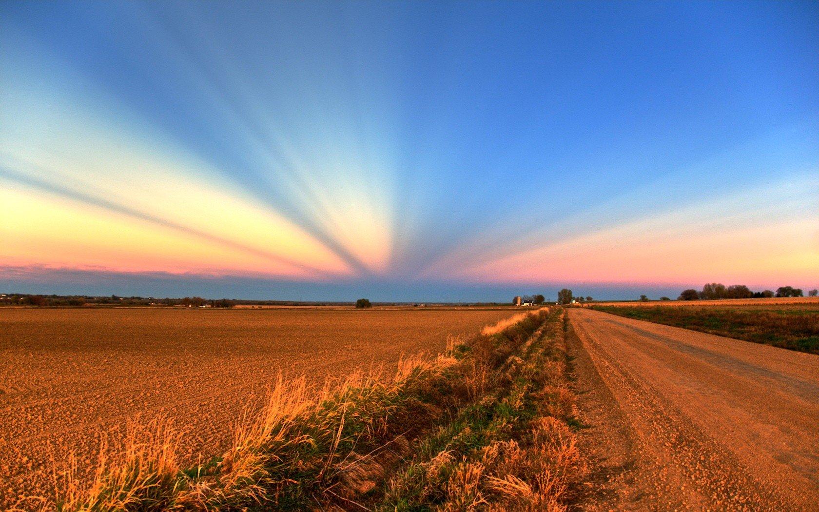 дорога поле закат облака небо без смс