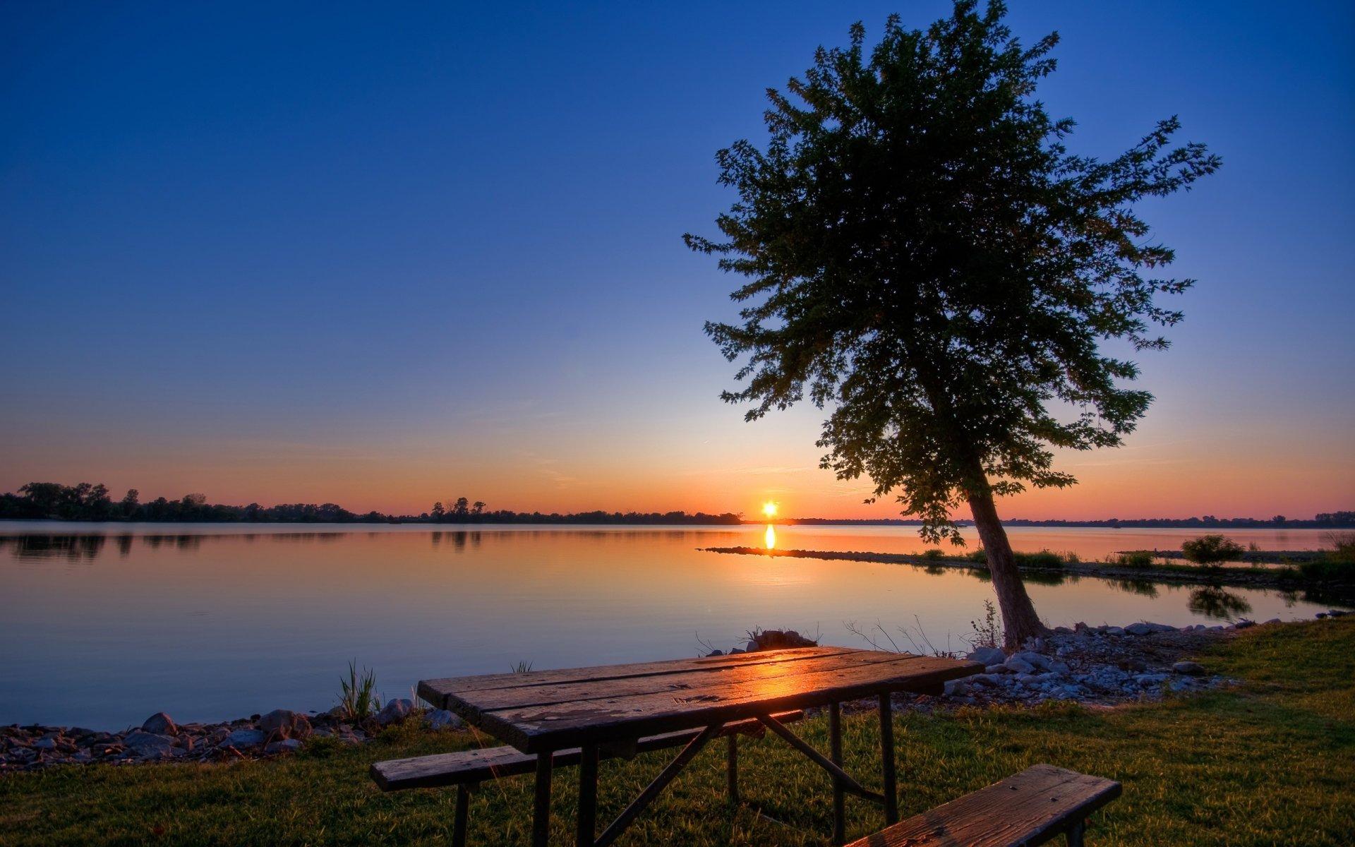 картинки на рабочий стол озеро закат новым годом