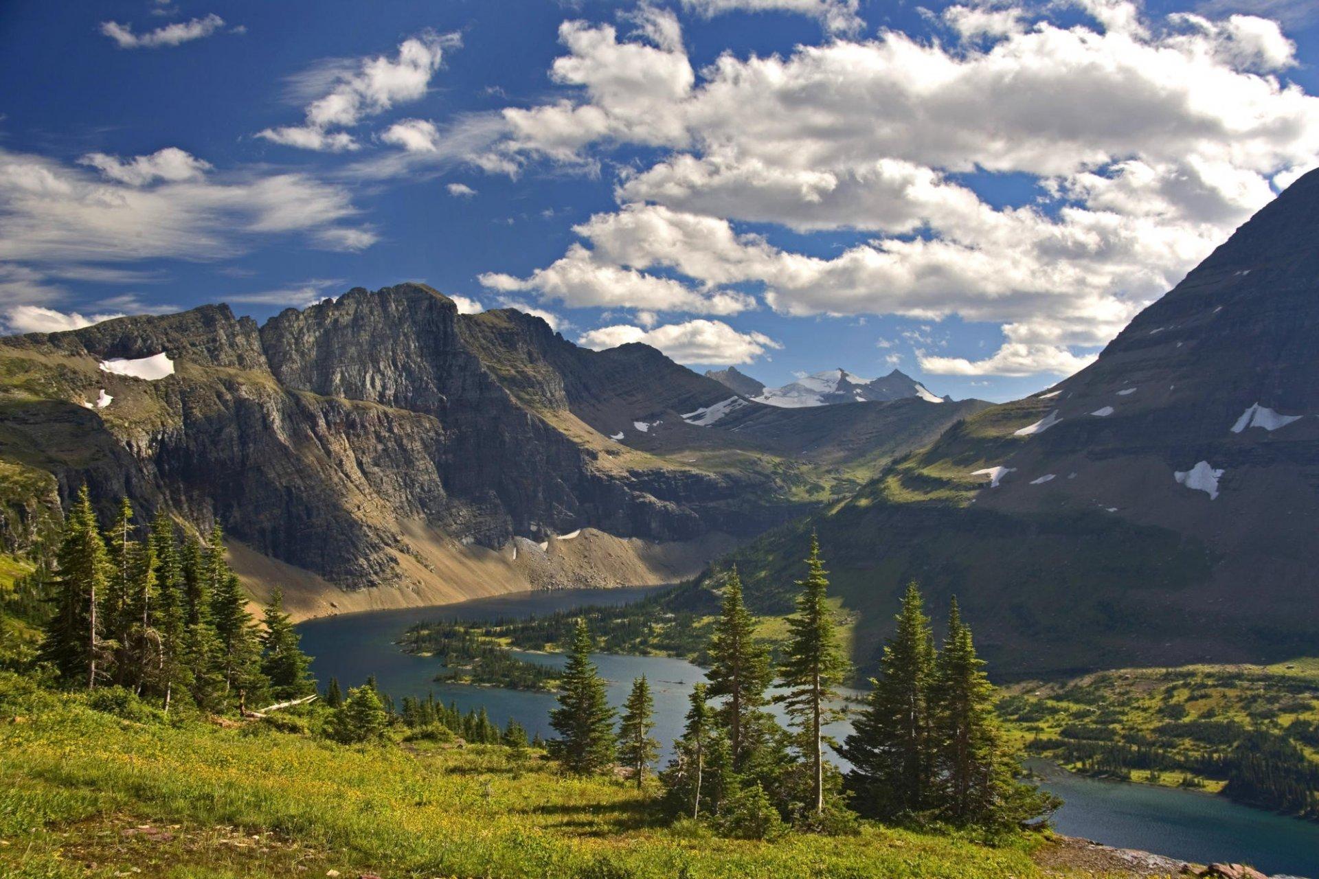 природа горы небо облака река деревья nature mountains the sky clouds river trees  № 1223894 загрузить