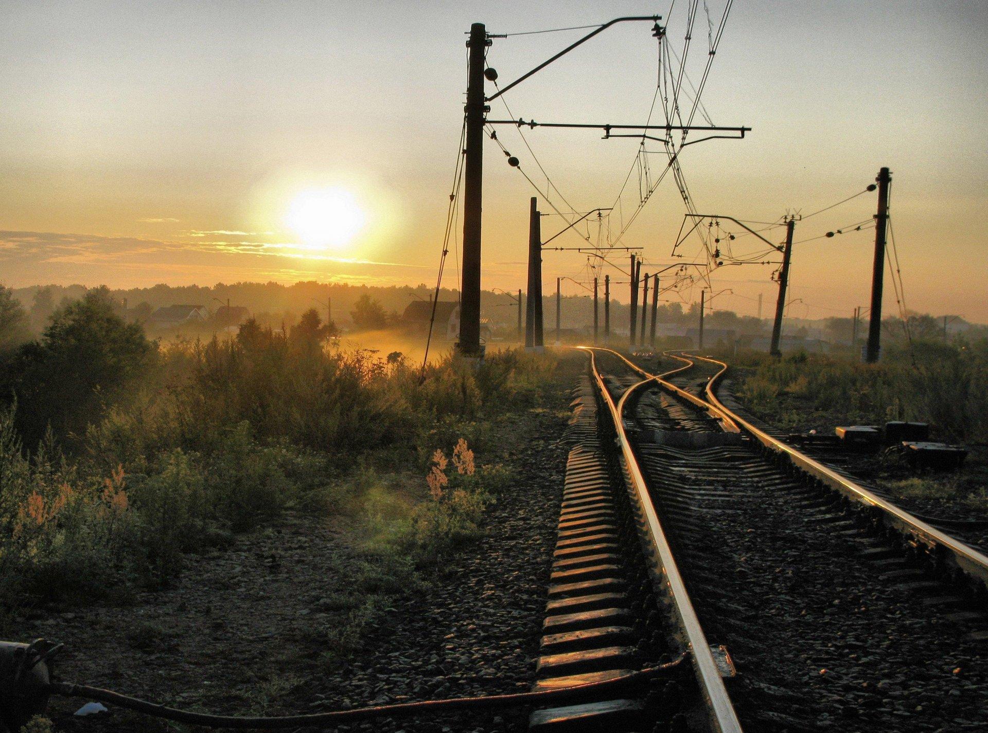 Обои железная дорога, туман, мост. Разное foto 11