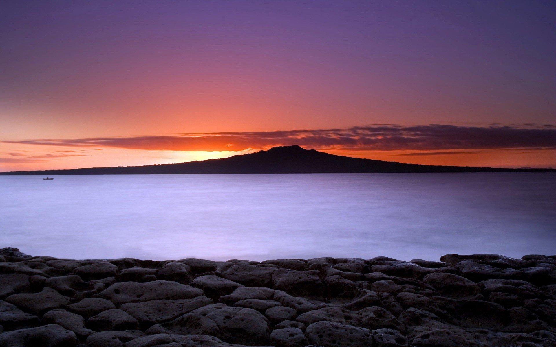 закат горы небо вода  № 1019636  скачать