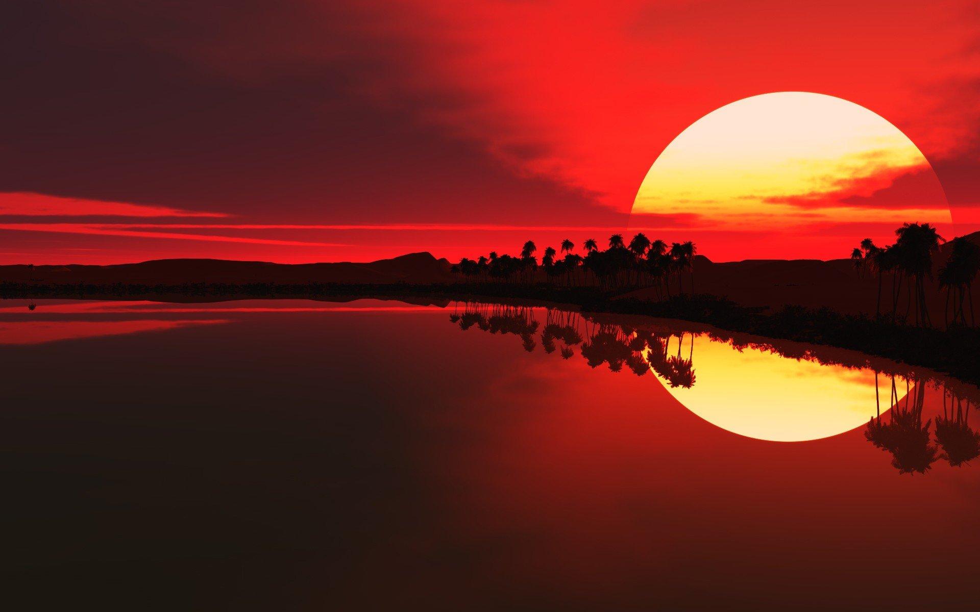 рисунок закат фоновый