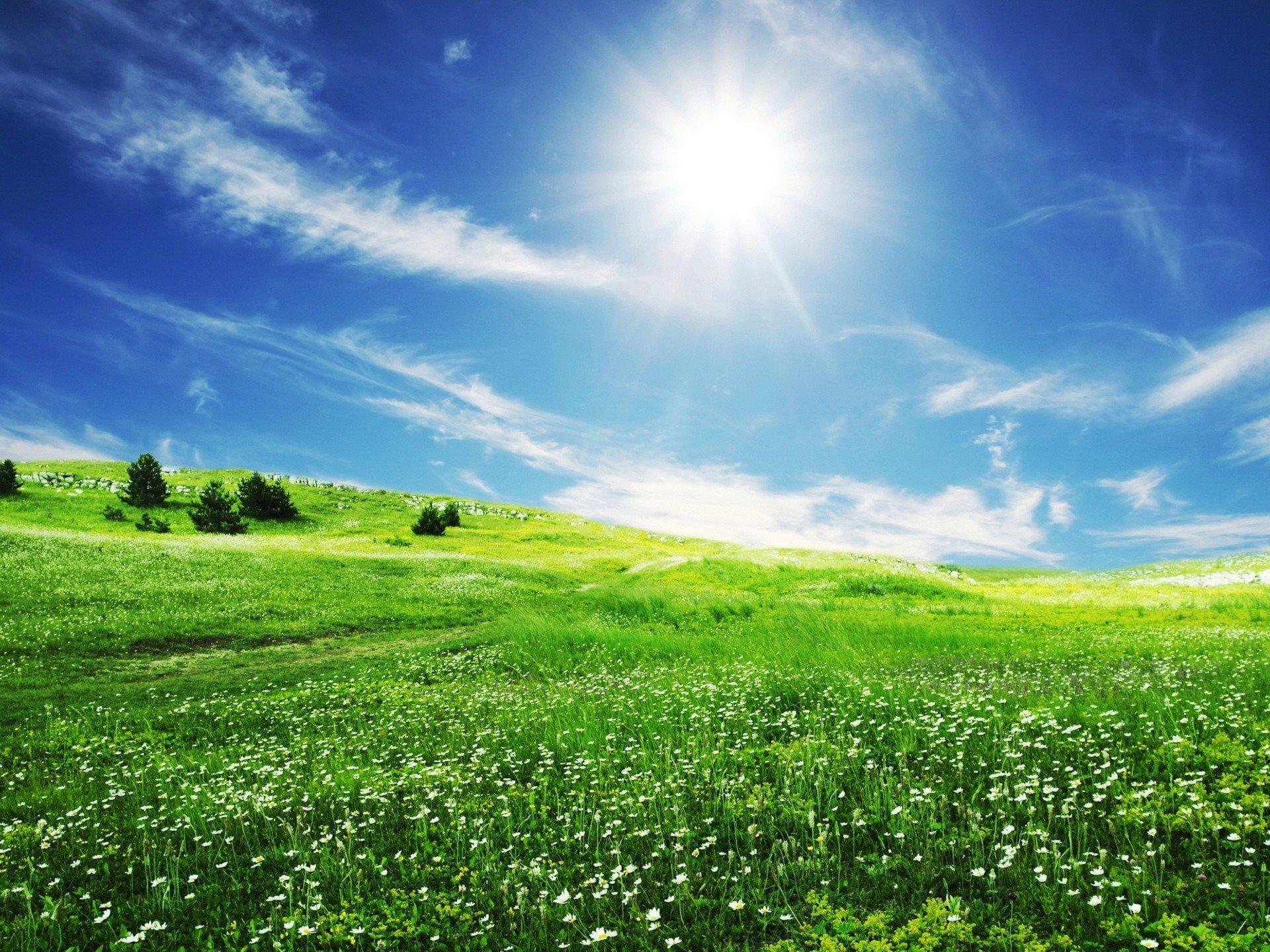 Картинки с голубым небом и солнцем