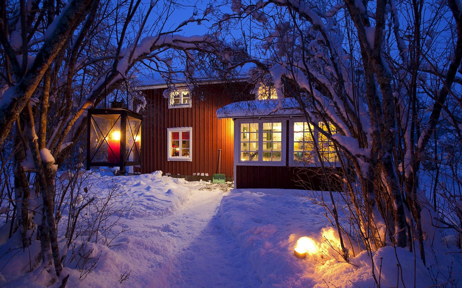 горы дом снег фонарь  № 147848 без смс