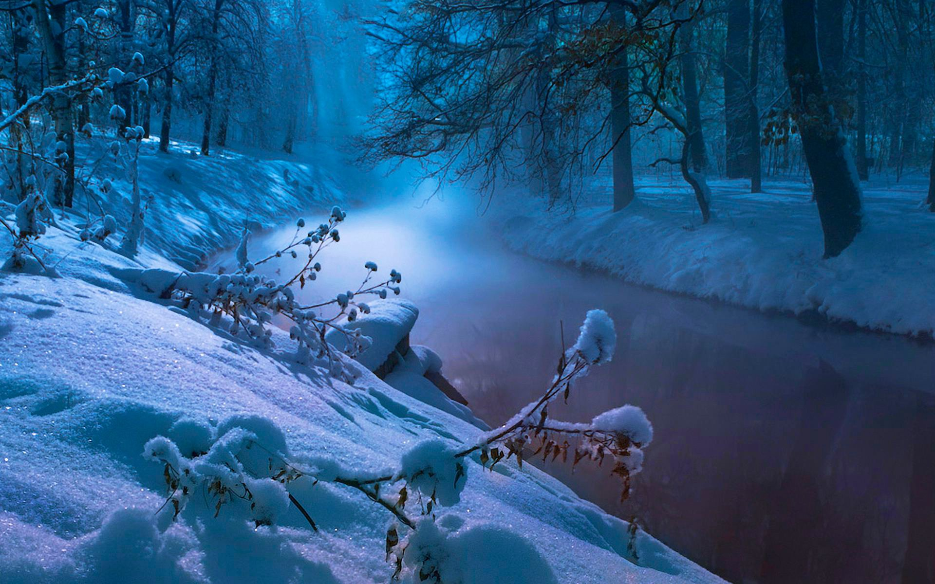 природа река снег зима деревья nature river snow winter trees скачать