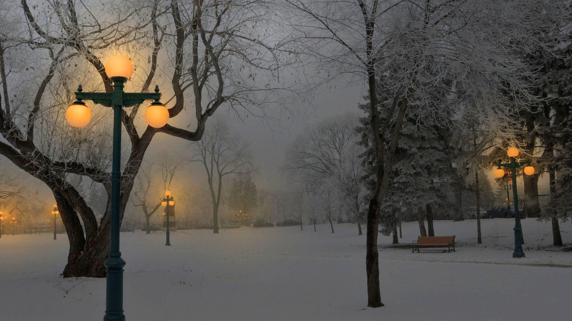 свет от фонарей в зиму на телефон