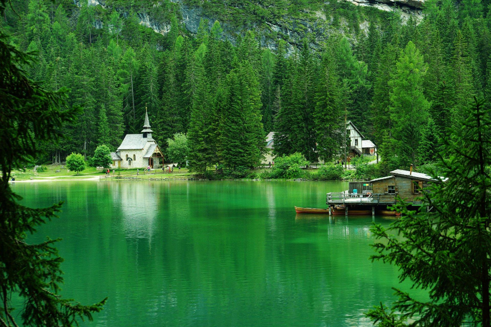 Озеро, гора, зеленый лес  № 621608 без смс