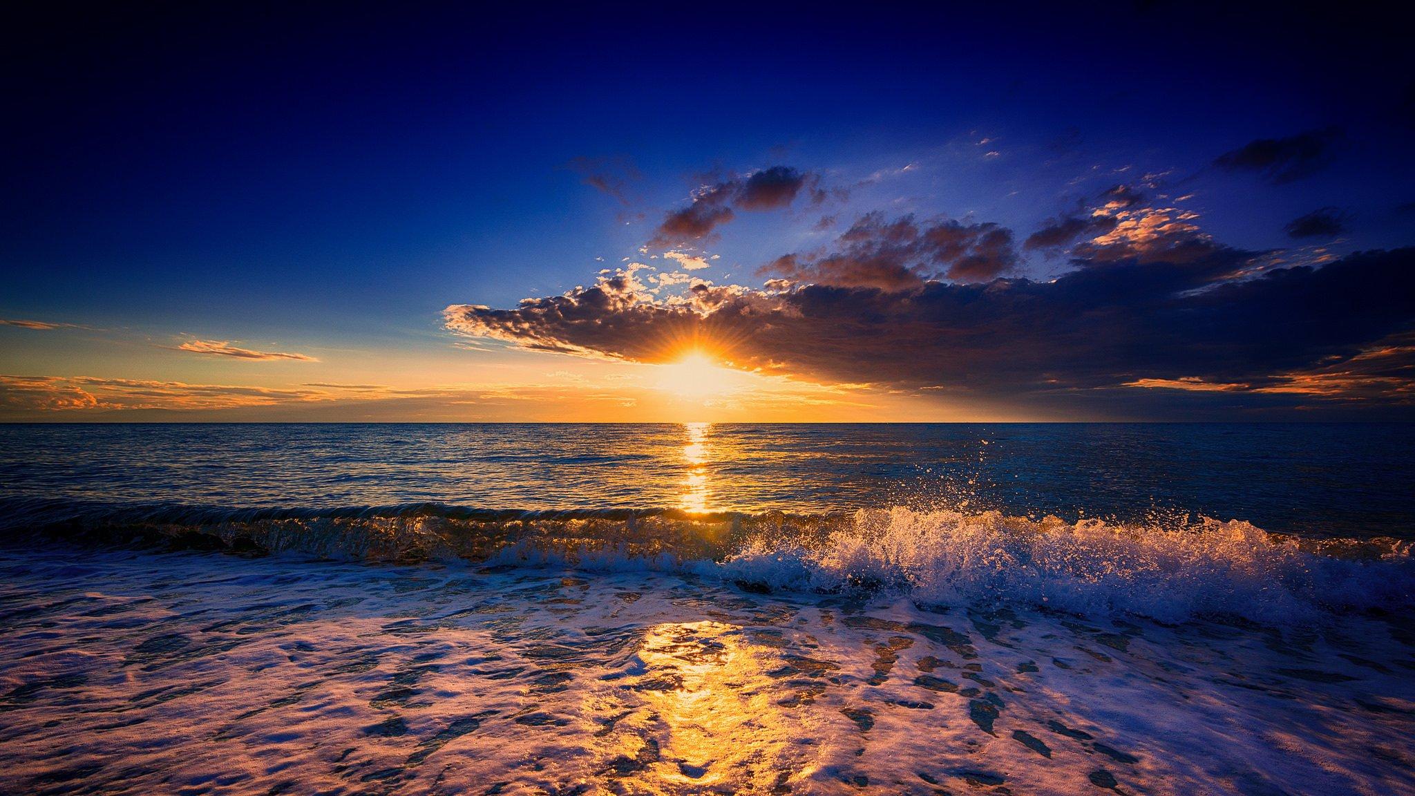 природа море солнце горизонт небо облака  № 717651  скачать