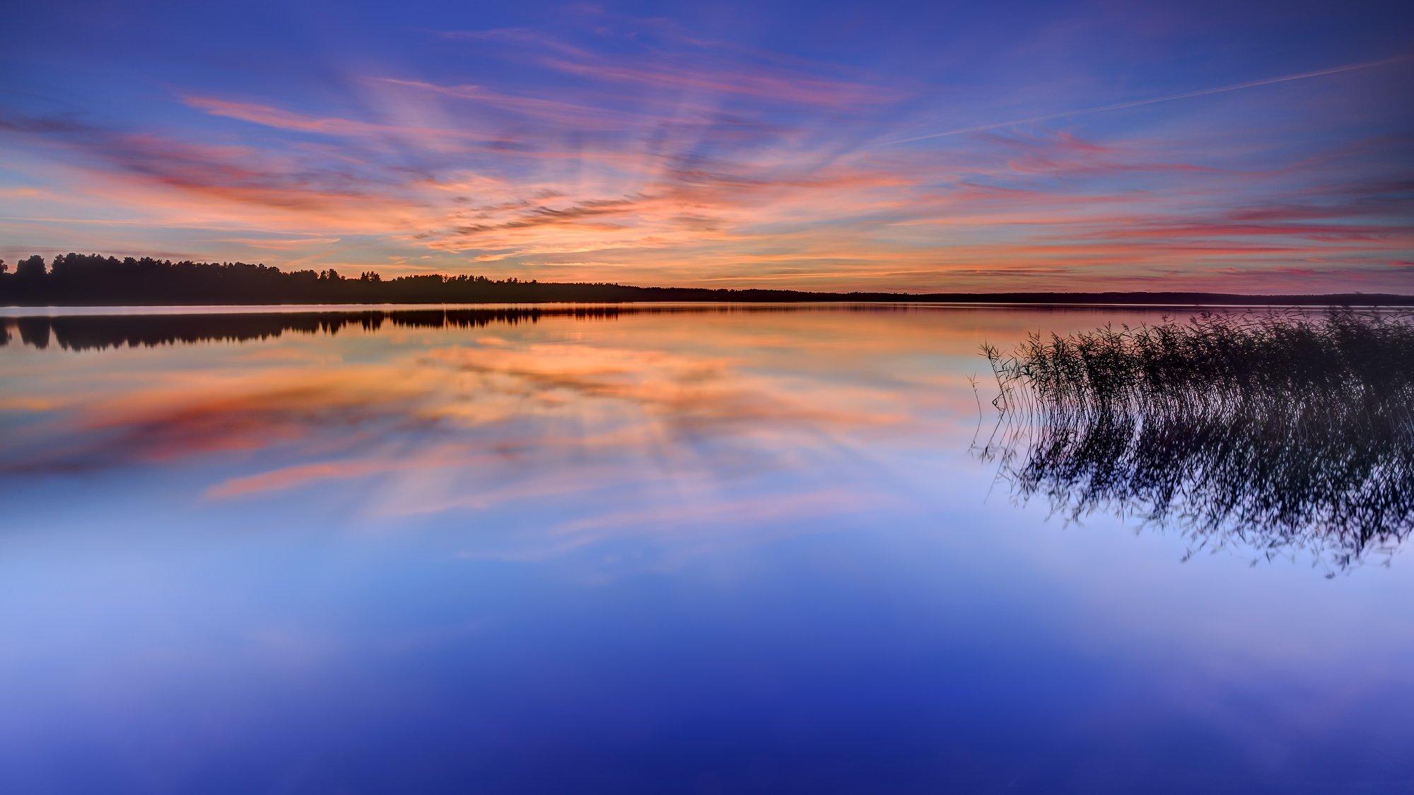 природа озеро отражение небо облака  № 1248351 без смс